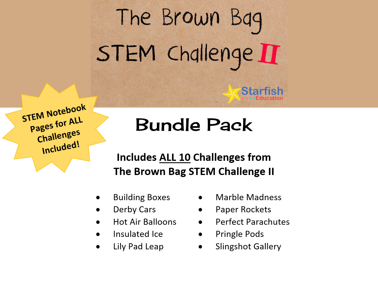 Brown Bag Stem Challenge Ii Bundle Pack Starfish Education