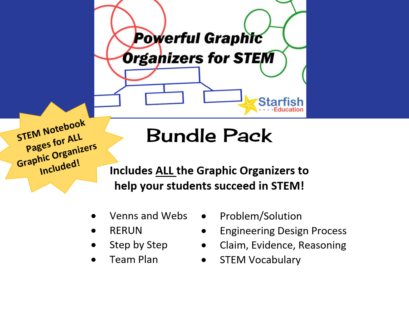 Powerful Graphic Organizers For Stem Bundle Pack Starfish Education